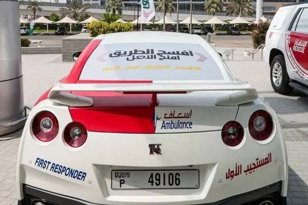 Siêu xe GT-R với các đặc điểm nhận diện của đội xe cứu thương Dubai. Ảnh: Twitter