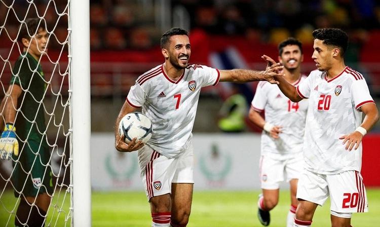 Ali Mabkhout ghi sáu trong tám bàn của UAE ở ba trận đã đấu. Ảnh: National.