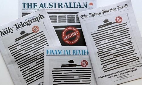 Nhiều báo Australia đồng loạt bôi đen trang nhất