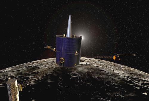 Tàu vũ trụ Lunar Prospector của NASA mang nhiệm vụ nghiên cứu Mặt Trăng. Ảnh: NASA.