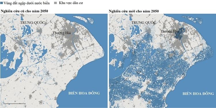 Vùng ngập trong nước biển ở Thượng Hải năm 2050 trong dự báo cũ và dự báo mới. Đồ họa: New York Times.