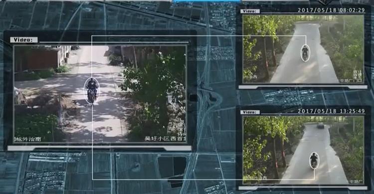 Chiếc xe máy biến mất sau khi đi qua camera đặt tại điểm C. Ảnh: CCTV.