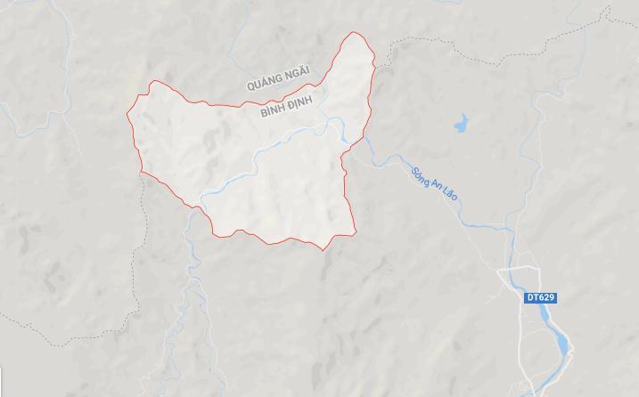Vị trí xã An Dung, huyện An Lão, Bình Định nằm giáp với tỉnh Quảng Ngãi. Ảnh: Google maps.