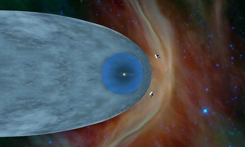 Tàu Voyager 1 và 2 ở vùng không gian liên sao. Ảnh: NASA.