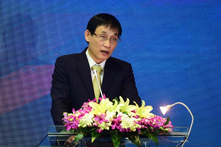 Thứ trưởng Ngoại giao Lê Hoài Trung phát biểu tại khai mạc Hội thảo quốc tế Biển Đông lần thứ 11 sáng nay tại Hà Nội. Ảnh: Giang Huy.