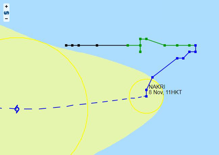 Sơ đồ minh họa hướng di chuyển của bão Nakri trong những ngày vừa qua do đài Hong Kong ghi nhận.