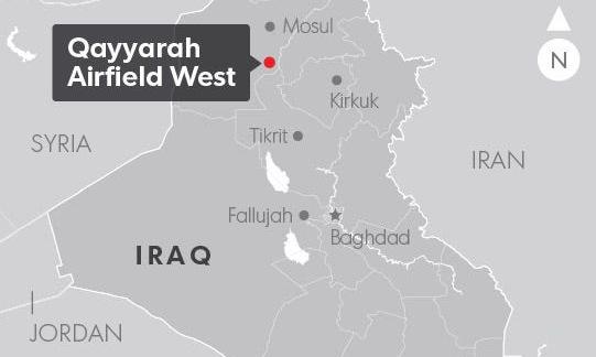 Vị trí căn cứ không quân Qayyarah gần thành phố Mosul. Đồ họa: USA Today.