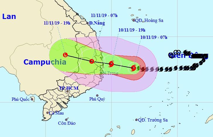 Đường đi của bão Nakri theo nhận định của Trung tâm dự báo khí tượng thủy văn quốc gia. Ảnh: NCHMF.