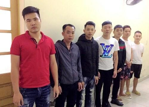 7 thanh niên trong ổ nhóm tín dụng đen bị công an Hải Phòng bắt giữ. Ảnh: CAHP