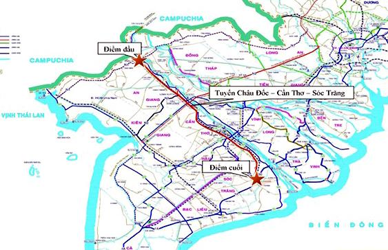 Bản đồntuyến cao tốc Châu Đốc - Cần Thơ - Sóc Trăng. Ảnh: Cửu Long.