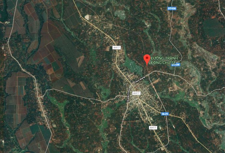 Vị trí tuyến tránh Chư Sê. Ảnh: Google Map.
