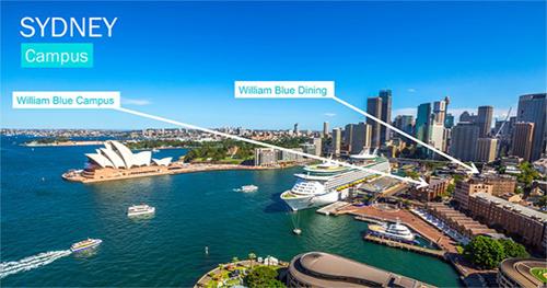 Vị trí trường William Blue và nhà hàng William Blue Dining.