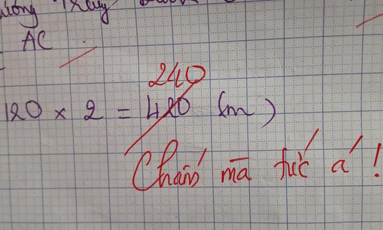 Học sinh làm sai phép toán dễ khiến cô giáo ''chấm mà tức'' -