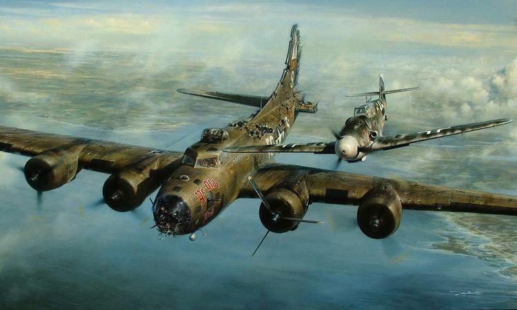 Tranh vẽ mô tả vụ tiêm kích Đức hộ tống oanh tạc cơ Mỹ. Ảnh: War History.