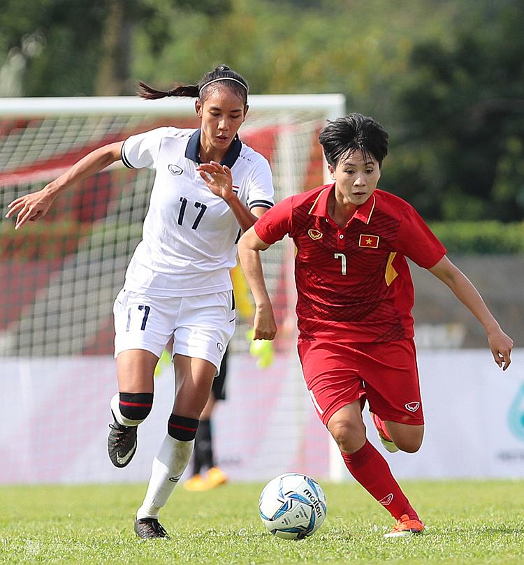 Tuyết Dung (7) là niềm hy vọng của tuyển nữ Việt Nam ở SEA Games 30. Ảnh: Đức Đồng.