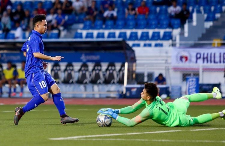 Supachok vào sân từ ghế dự bị và không thể giúp Thái Lan chọc thủng lưới Indonesia. Ảnh: Changseuk