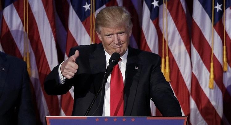 Tổng thống Donald Trump phát biểu khi giành chiến thắng trong cuộc bầu cử Tổng thống Mỹ 2016. Ảnh: Reuters.