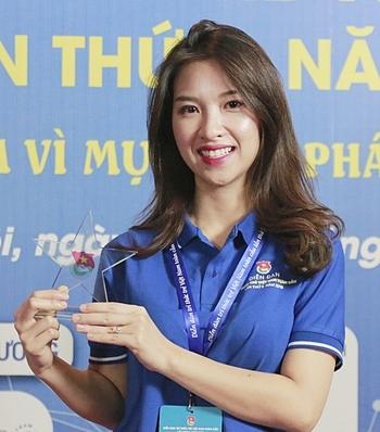 Nguyễn Thị Sao Ly tại Diễn đàn Tri thức trẻ Việt Nam toàn cầu 2019. Ảnh: Thanh Hằng