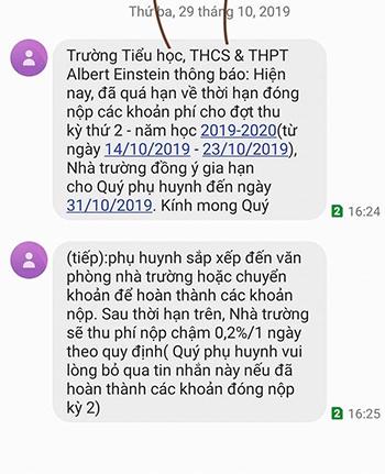 Tin nhắn của nhà trường gửi cho phụ huynh. Ảnh: T.H