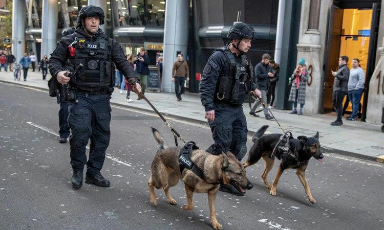 Cảnh sát London dắt chó nghiệp vụ tuần tra trên đường sau vụ đâm dao ngày 29/11. Ảnh: Telegraph.