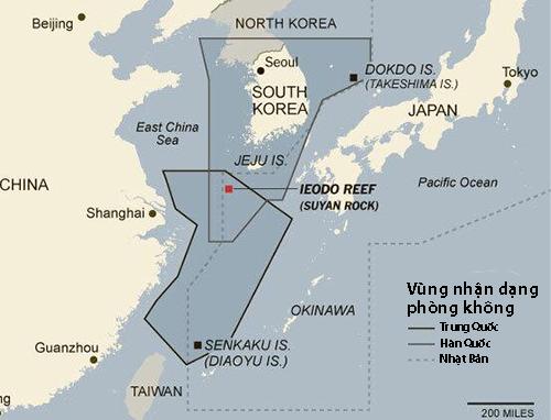 Vị trí đá ngầm Ieodo/Tô Nham và vùng nhận dạng phòng không của Trung Quốc, Hàn Quốc, Nhật Bản. Đồ họa: East Asia Intel.