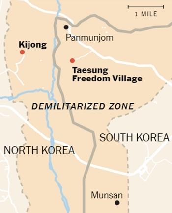 Vị trí của làng Tự do Taesung. Đồ họa: NYTimes.