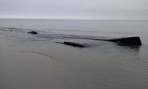 Sà lan cổ lộ ra trên bờ hồ Michigan. Ảnh: Fox News.