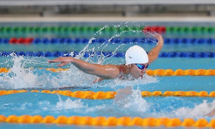 Ánh Viên trong phần thi vòng loại 200m hỗn hợp nữ sáng 4/12. Ảnh: Quang Huy.