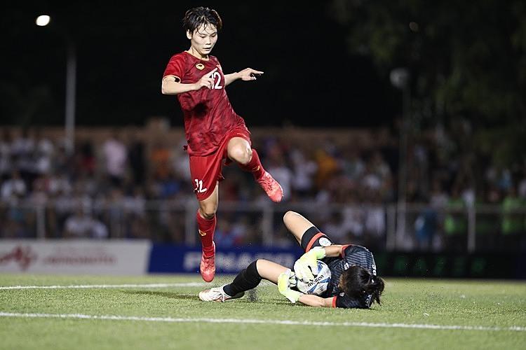 Hải Yến (số 12) không thể đánh bại thủ môn Palacios. Ảnh: Đức Đồng.