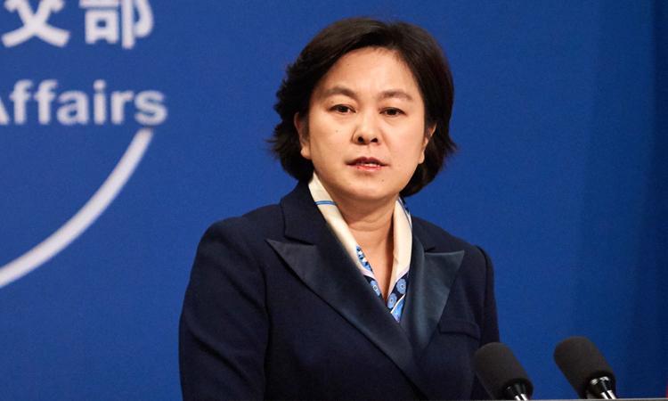 Người phát ngôn Bộ Ngoại giao Trung Quốc Hoa Xuân Oánh trong buổi họp báo tại Bắc Kinh hồi tháng 9. Ảnh: Xinhua.
