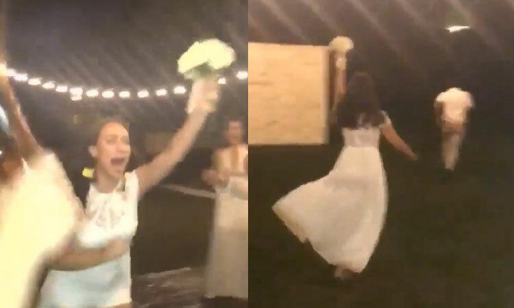 Anh chàng chạy té khói khi người yêu bắt được hoa cưới -