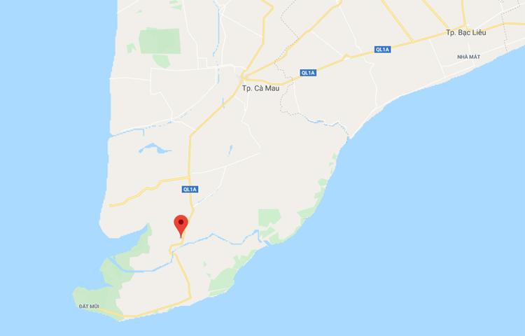 Vị trí thị trấn Năm Căn. Ảnh: Google maps.