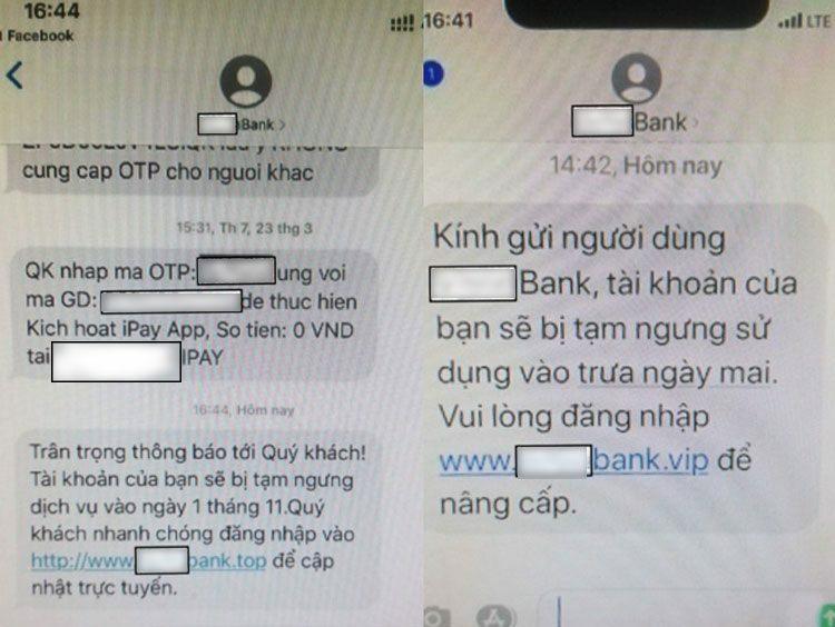 Tin nhắn giả mạo ngân hàng gửi tới người dân. Ảnh: Bộ Công an cung cấp