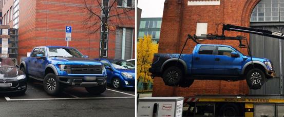 Chiếc Ford bị cẩu đi khi đỗ chắn ở một trạm sạc tại Đức. Ảnh: Polizei Berlin