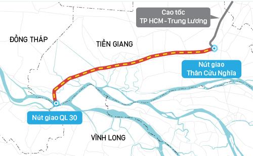 Cao tốc Trung Lương - Mỹ Thuận đi qua 5 huyện của tỉnh Tiền Giang.
