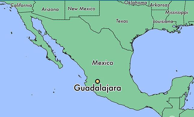 Vị trí thành phố Guadalajara, bang Jalisco trên bản đồ. Đồ họa: World Atlas.