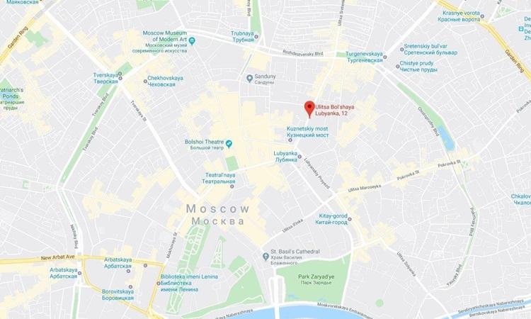 Vị trí xảy ra vụ nổ súng gần trụ sở FSB ở số 12 đường Bolshaya Lubyanka. Đồ họa: Google Maps.