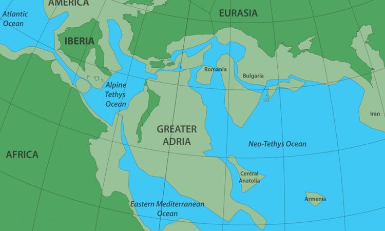 Vị trí của lục địa Greater Adria cách đây 140 triệu năm. Ảnh: Douwe van Hinsbergen.