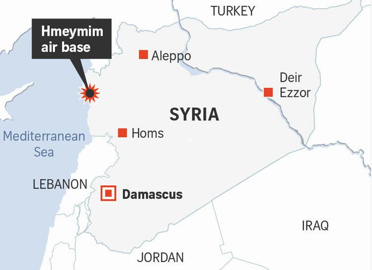 Vị trí căn cứ Hmeimim (còn gọi là Hmeymim) của Nga ở Syria. Đồ họa: AFP.