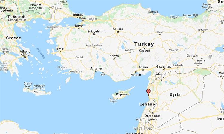 Vị trí căn cứ hải quân Tartus tại Syria. Đồ họa: Google.