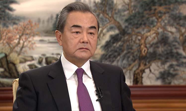 Ngoại trưởng Trung Quốc Vương Nghị trong cuộc phỏng vấn với CCTV hôm qua. Ảnh: CGTN.