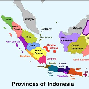 Vị trí tỉnh Nam Sumatra (màu vàng) trên bản đồ Indonesia. Ảnh: Geo Currents.