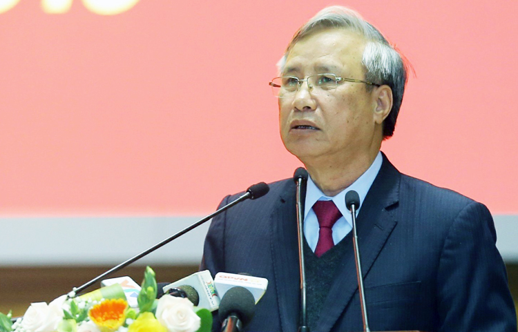 Ông Trần Quốc Vượng phát biểu tại Hội nghị công tác tổ chức xây dựng Đảng sáng 25/12. Ảnh: Như Ý.