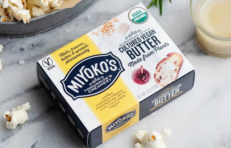 Bao bì sản phẩm của Miyoko's Kitchen ghi rõ chữ thuần chay. Ảnh: Vegnews