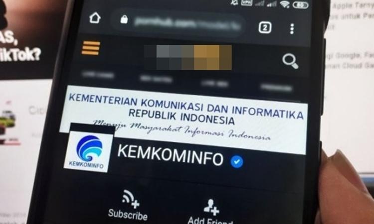 Ảnh chụp màn hình tài khoản mạo danh Bộ Thông tin và Truyền thông Indonesia trên một trang web khiêu dâm. Ảnh: beritakotak.com.
