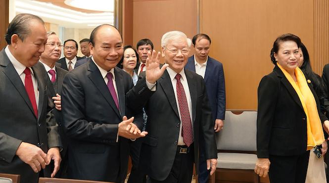 Tổng bí thư, Chủ tịch nước Nguyễn Phú Trọng đến dự hội nghị Chính phủ với các địa phương sáng 30/12. Ảnh: VGP