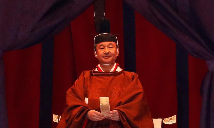Nhật hoàng Naruhito trong lễ đăng quang hôm 22/10 tại Hoàng cung ở thủ đô Tokyo. Ảnh: Reuters.