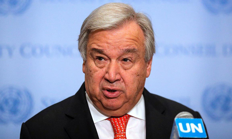 Tổng thư ký Liên Hợp Quốc Antonio Guterres phát biểu tại New York, Mỹ 1/8/2019. Ảnh: Reuters.