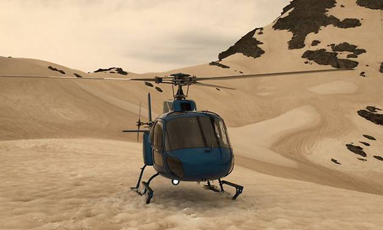 Trực thăng đậu trên sông băng đã biến thành màu nâu Franz Josef ở New Zealand hôm 1/1. Ảnh: Twitter/ rachelhatesit.