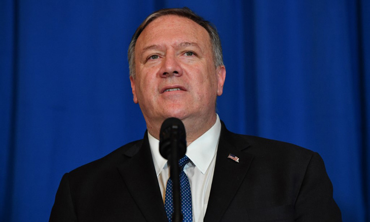 Ngoại trưởng Mỹ Mike Pompeo phát biểu tại Palm Beach, bang Florida hôm 1/1. Ảnh: AFP.